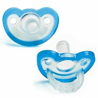 RaZbaby JollyPop Baby Pacifier PLUS, 3m+, BLUE, Double pack New