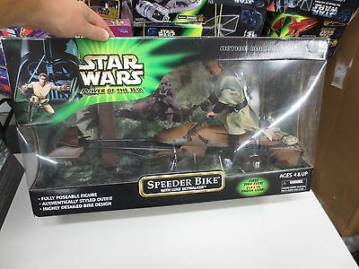 2001 Hasbro Star Wars Power Of The Jedi Speeder Bike w/ Luke Skywalker Large Act
