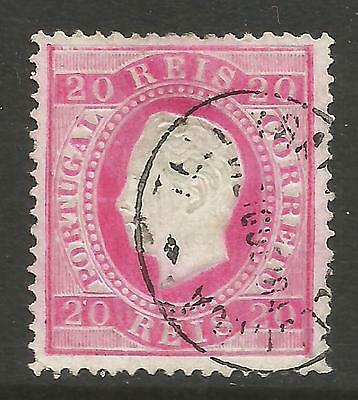 PORTUGAL 1884  20R CARMINE  LUIS 1(STRAIGHT VALUE) PERF 12.5 Mi No 60B USED (O)