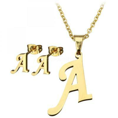 Letter A-Z Necklace & Earrings Set Stainless Steel Women Gold Plated Jewelry