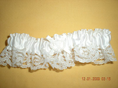 Wedding Garter with Lace Double Heart Pearls