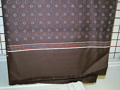 "Brown with Circle Print 45"" Long Tablescarf Handmade in Austria"