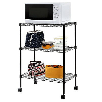 Black 3 Tier Wire Shelving Rack Cart Unit w/Casters Shelf Wheels Heavy Duty