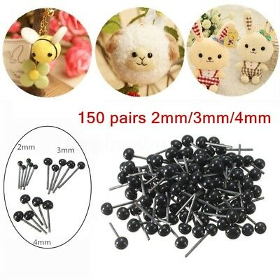 150 Pairs Glass Eyes 2/3/4mm Needle Felting Sewing Bear Doll Toy Craft Animals