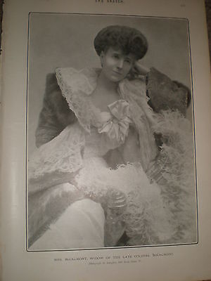 Printed Photo Mrs McCalmont widow of Colonel McCalmont 1902 ref Z