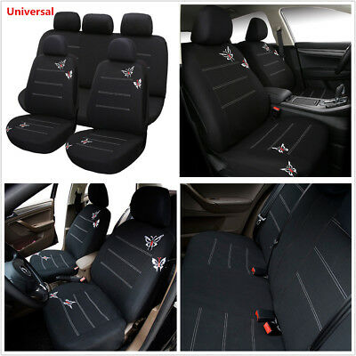 11Pcs Comfortable Polyester Fabric Butterfly Embroidery Black Car Seat Cover Set