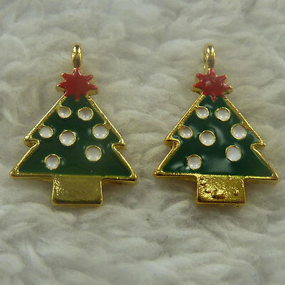 200pcs red green enamel gold plated christmas tree charms 21x15mm #4596