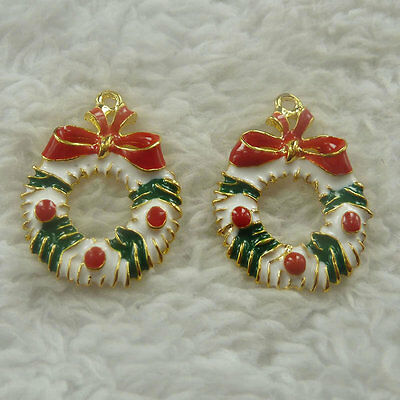 120pcs colorful enamel gold plated Christmas gift charms 27x20mm #4593