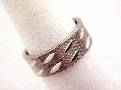 Vintage Textured Silver Tone Ladies Wide Band Ring Size 5 1960s Diamond Cut