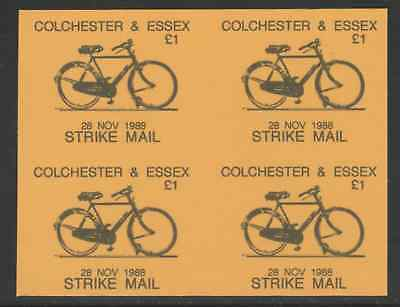 GB 5815 - Colchester & Essex STRIKE MAIL £1 Bicycle PROOF BLOCK OF 4