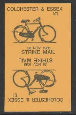 GB 5816 - Colchester & Essex STRIKE MAIL £1 Bicycle PROOF TETE-BECHE PAIR
