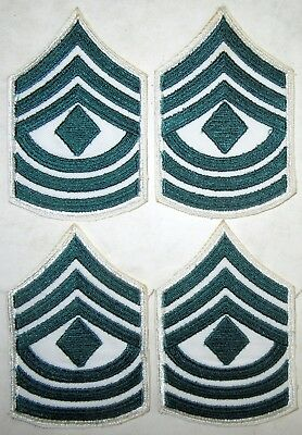 (4) Vintage Obsolete USMC Women's Marine Corps Green & White First Sgt. Chevrons