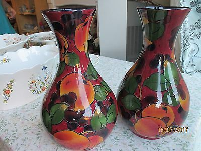 """Pair Of Large Royal Stanley Jacobean Ware Baluster """"Peach"""" Vases"""