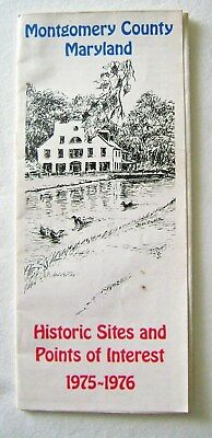 Vintage 1976 Montgomery County Maryland Map Historic Sites Points of Interest