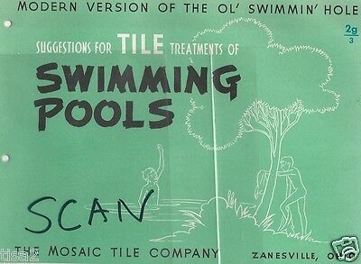 1948 MOSAIC TILE Co SWIMMING POOLS Design Catalog SS AMERICA Ocean Liner Photo