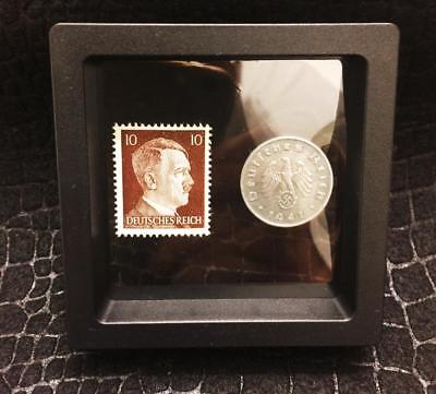 Authentic Rare 3rd Reich 10pf Coin wth SWASTIKA & Stamp WORLD WAR 2