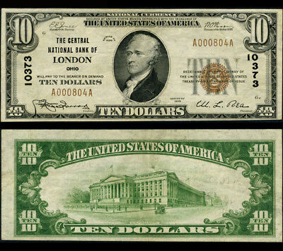 London OH $10 1929 Ty 1 National Bank Note Ch #10373 Central NB XF