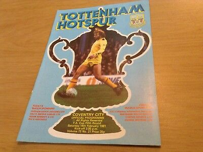 Tottenham v Coventry 1981 fa cup 5th round programme