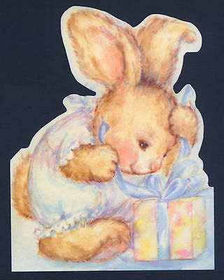 "Mary Hamilton.baby Bunny Rabbit Opens Gift,""Thank You"" Collectible Greeting Card"
