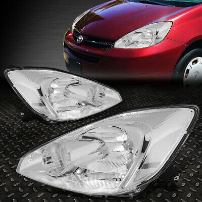 For 2004-2005 Toyota Sienna Pair Chrome Housing Clear Corner Headlight/lamp Set