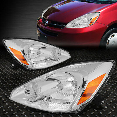 For 2004-2005 Toyota Sienna Pair Chrome Housing Amber Corner Headlight/lamp Set