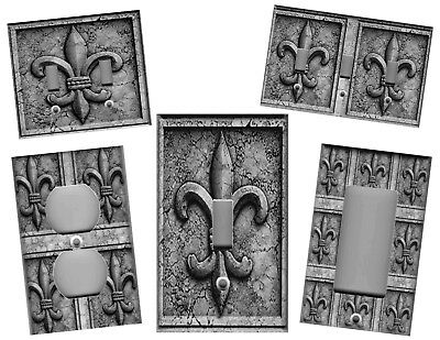 Fleur De Lis Grey Stone Print Kitchen Home Wall Decor Light Switch Plate