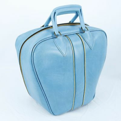 VTG Light Blue Vinyl Bowling Bag Full Zipper with Wire Rack