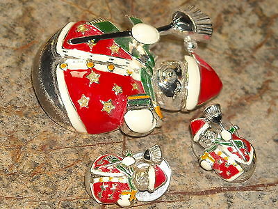 silver toned santa earrings brooch pin pendant chain christmas red green