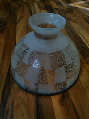 old vintage lamp shade large glass globe light frosted pattern art deco ornate