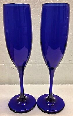 Set of 2 Libbey Cobalt Blue Champagne Flutes