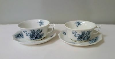 2 Coffee Cups & Saucers Large W.h Grindley & Co. Chatsworth Blue Floral 10 Avail