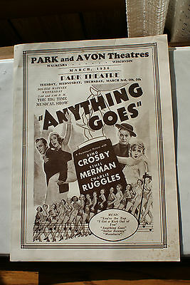 Old Vintage Program Movie Ad Flyer 1936 Park & Avon Theatres Waukesha Wisconsin