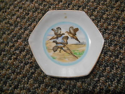 Old Vintage Small Ashtray Trinket Plate Dish Pheasant Birds Flying Hunting Decor