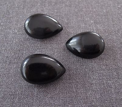 3 Antique 1930's Black Galalith Drop Buttons   2539B