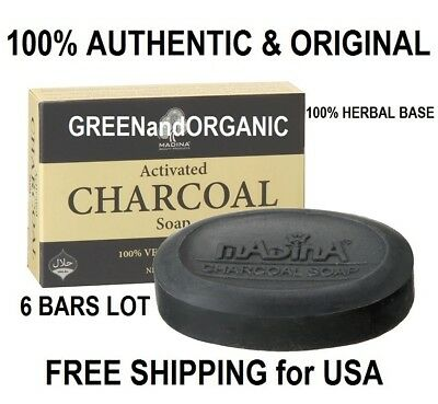 6x Bars Anti-Aging ACTIVATED CHARCOAL SOAP Acne Pimples Detox Cleanse Face Halal