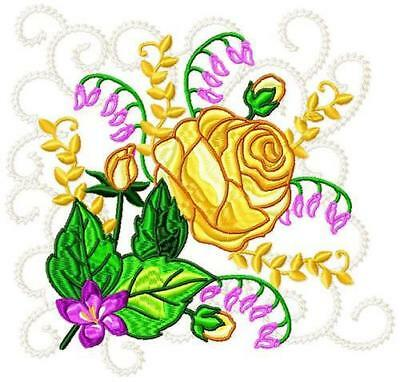 ROSES BLOCKS no 1 10 MACHINE EMBROIDERY DESIGNS CD 3 SIZES INCLUDED