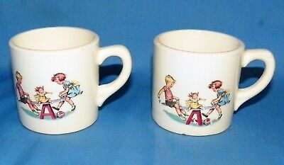 2 Vintage Children's Mugs Cups Ceramic Girl & Boy on Seesaw