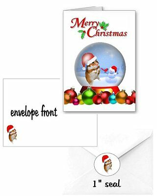 30 Hamster Christmas cards seals envelopes 90 pieces snow globe design