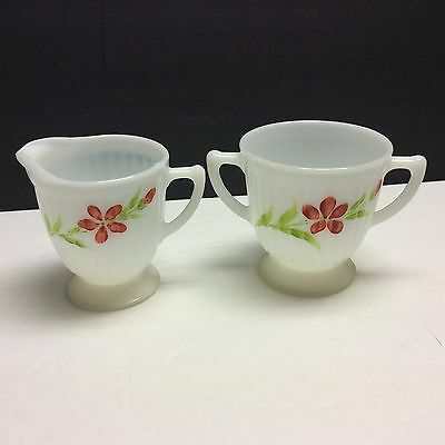MacBeth-Evans Petalware Fired On Decorated Red Flower Creamer & Sugar