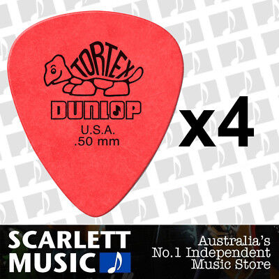 4 x Jim Dunlop Tortex Standard .50mm Red Picks Plectrums 0.50 *SET OF SIX PICKS*