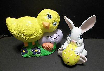 Vintage Easter Decor Chick with Hatching Egg Bunny with Easter Egg