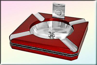 Large Cherry Square Cigar Ashtray with Cutter