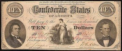 1861 $10 Bill Confederate States Currency Civil War Note Csa Paper Money T-26 Vf