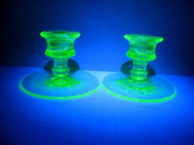 LOT 2 vintage VASELINE  candle holders  green glass BLACKLIGHT TESTED