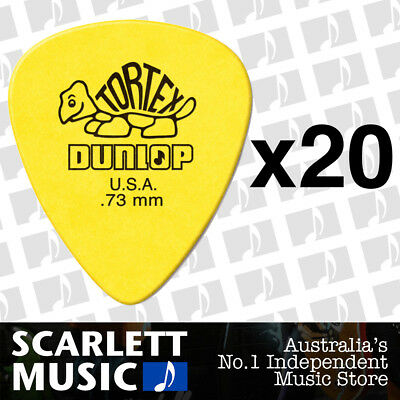 20 x Jim Dunlop Standard Tortex .73mm Yellow Picks Plectrums .73 *TWENTY PICKS*