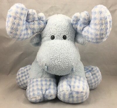 Ty Twacks Moose Blue Checkered Baby Twack 2005 First Lovey Plush Soft Toy TyLux