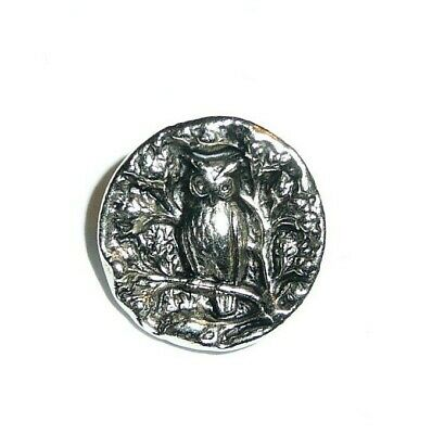"Adorable Owl Antique Reproduction Metal Shank Button 5/8"" - Ant. Silver Finish"