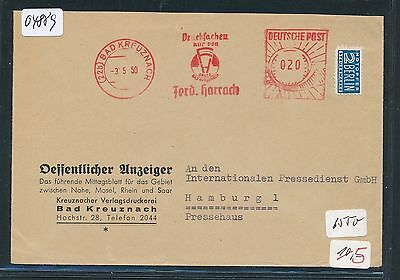 04889) Bad Kreuznach, 20PF AFS meter F.Harrach Druckerei Brief 3.5.50