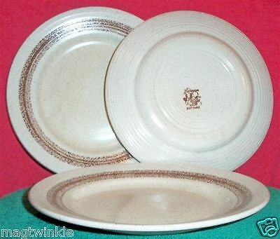 Churchill Stonecast Range HOMESPUN COTTAGE 3 Dinner or Lunch Plates 9¾ #1052-ABC