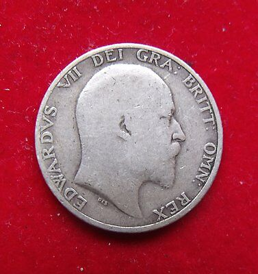 1910 Shilling Edward VII British coin .925 Silver Nice condition